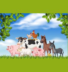 farm animals in nature scene vector image
