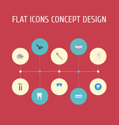 Flat icons cleaned tooth seal furniture and vector