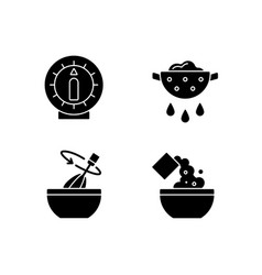 Food preparation black glyph icons set on white vector