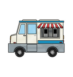 Food truck sideview icon image vector