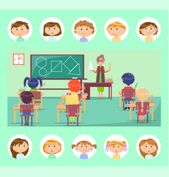 geometry class school teacher and pupils at desks vector image