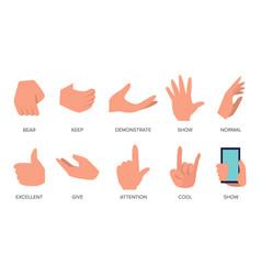 Gestures set hands in different emotions vector