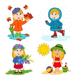 Girl and the four seasons vector