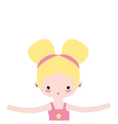 Girl dancing ballet with two buns hair design vector
