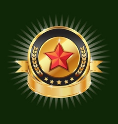 Gold emblem and red star label element vector