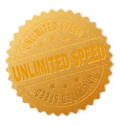 Golden unlimited speed medallion stamp vector