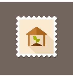 Greenhouse flat stamp with long shadow vector