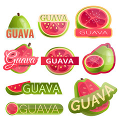 Guava logo set cartoon style vector