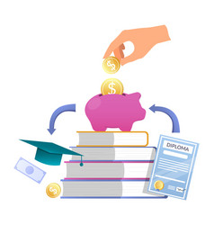 Hand putting coin into piggy bank books diploma vector