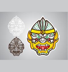 Hanuman-monkey-linethai-emblem-logo vector