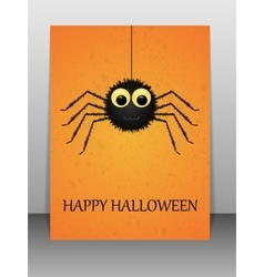 Happy Halloween greeting card with spider vector image