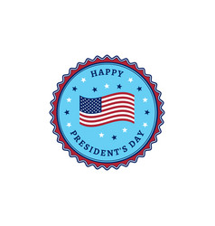 happy presidents day usa flag colorful stamp icon vector image