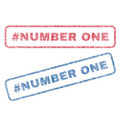 Hashtag number one textile stamps vector