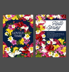 Hello spring floral banner with blooming flower vector