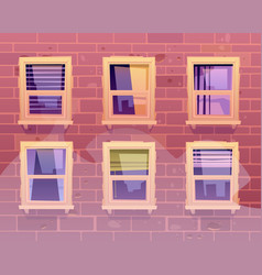 House facade windows front view building exterior vector