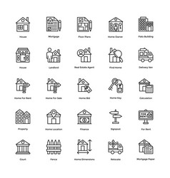 Icons set real estate vector