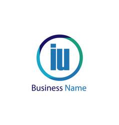 initial letter iu logo template design vector image