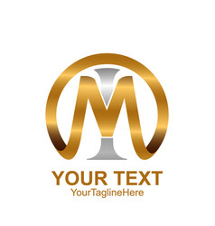Initial letter mi or im logo template colored vector