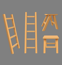 Interior ladders high rise household objects vector