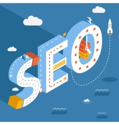 Isometric SEO success internet searching vector
