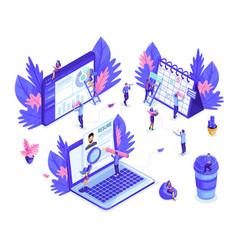 isometrics people work together web industry vector image