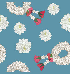 Jasmine flower and garland seamless pattern vector