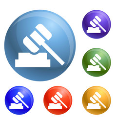 judge hammer icons set vector image