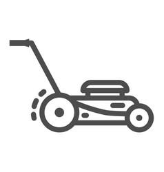 Lawn mower line icon garden and gardening concept vector