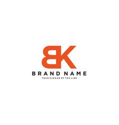 Letter bk logo design vector