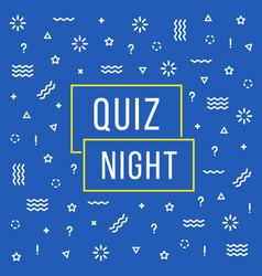 linear quiz night color banner vector image