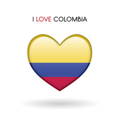 love colombia symbol flag heart glossy icon on a vector image