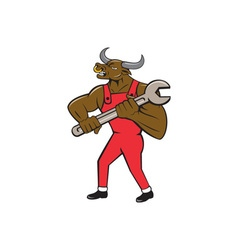 Mechanic Minotaur Bull Spanner Isolated Cartoon vector