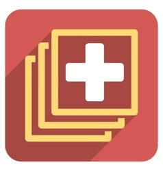 Medical Docs Flat Rounded Square Icon with Long vector
