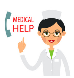 medical help young woman doctor lifting your vector image