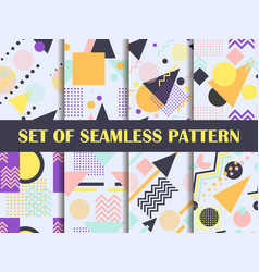 Memphis seamless pattern set geometric elements vector