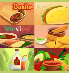 Mexican food banner set cartoon style vector