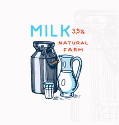 milk can label jug and glass vintage logo vector image