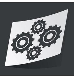 Monochrome cogs sticker vector