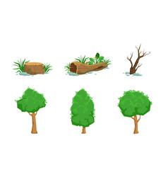 Nature landscape elements set green and dead vector