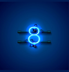 neon city font sign number 8 signboard eight vector image