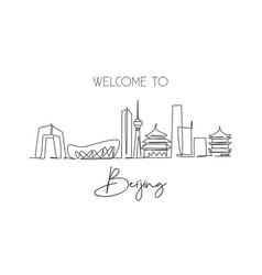 one single line drawing beijing city skyline vector image