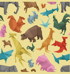 Origami wild paper animals creative decoration vector