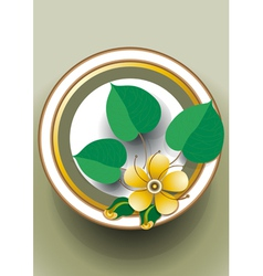 Oval frame with yellow flower vector image