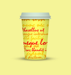 Paper coffee cup plastic coffee cup with text vector