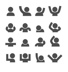 people icons mood and gesture concept glyph and vector image