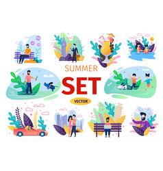people summer activities flat concepts set vector image