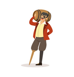 pirate sailor character with wooden leg holding vector image