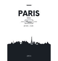 poster city skyline paris flat style vector image