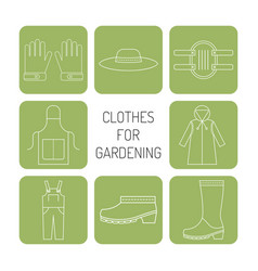 Protective clothing for working in garden vector