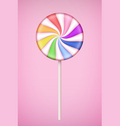 Rainbow lolipop candy on pastel pink background vector